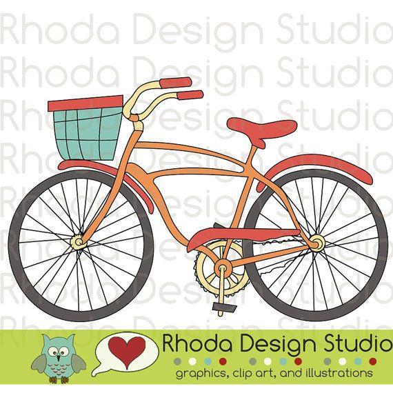 Retro Bikes With Basket Digital Clip Art Vintage Bicycles | Clip ...