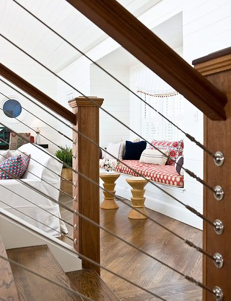 Full House East Coast Lovin Interior Stair Railing House   Wood And Wire Stair Railing   Hampton Style   Exterior   Closed Staircase   Horizontal Round Bar   Square Wire