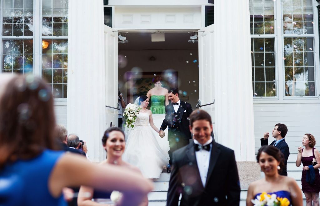 Massachusetts Wedding Photographer | Recessional with bubbles