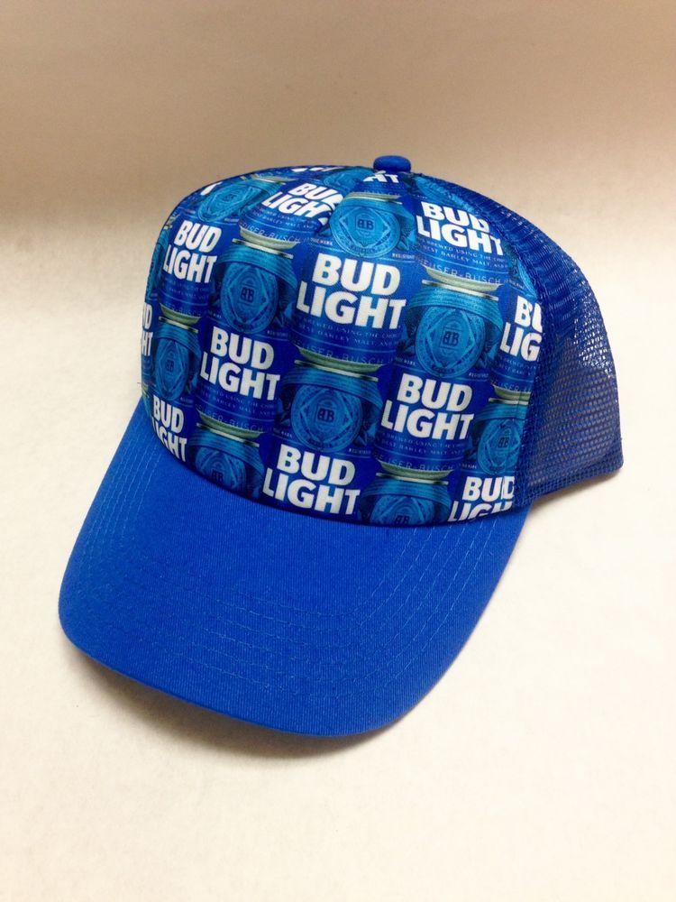 dd00f0ecc75 Bud Light Beer Adjustable Snapback Truckers Hat Cap Budweiser Blue OSFM