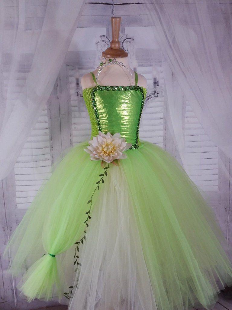 087e74f90ff326 Robe de princesse enfant, robe tutu princesse Tiana, verte et blanc ...