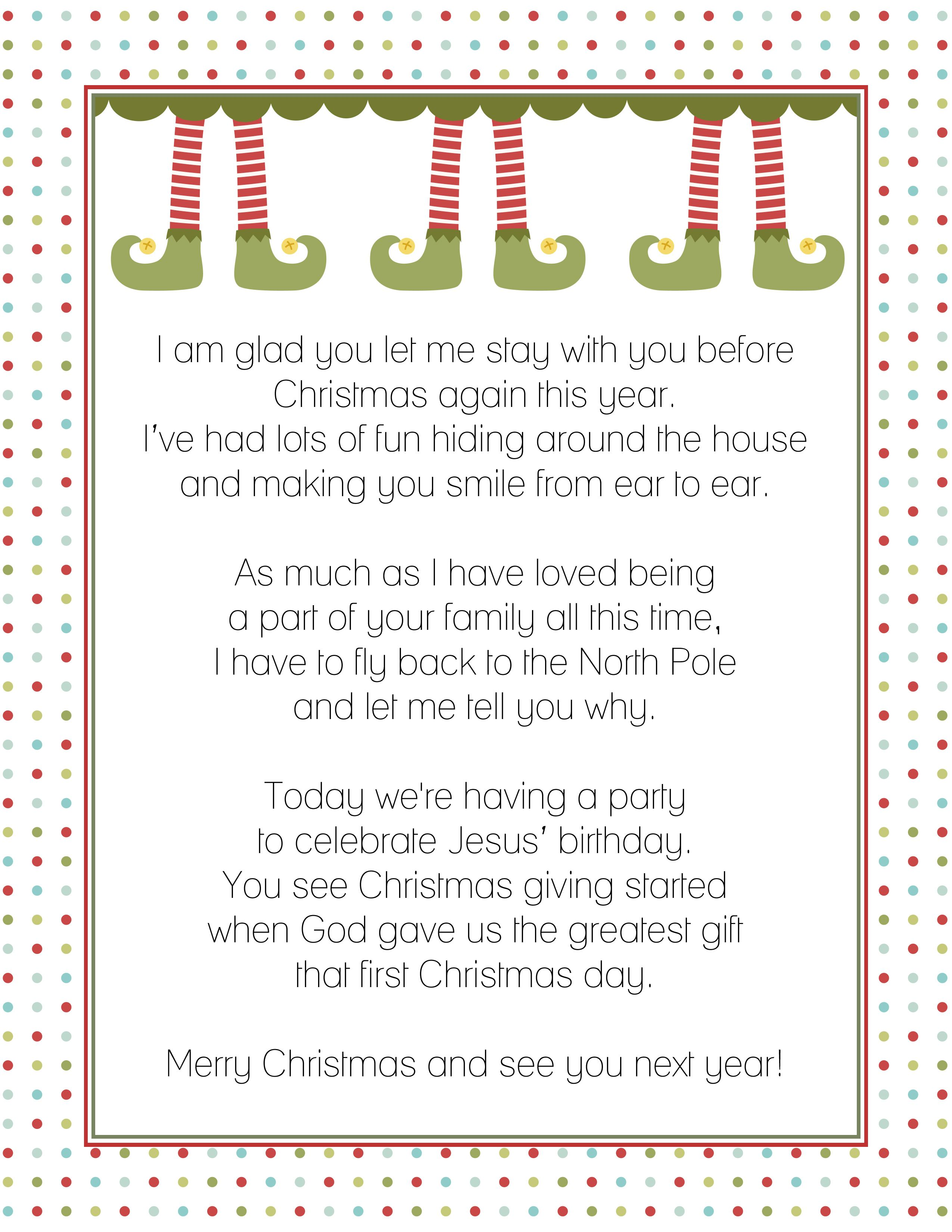 Goodbye Letter from the Elf on a Shelf Christmas Pinterest