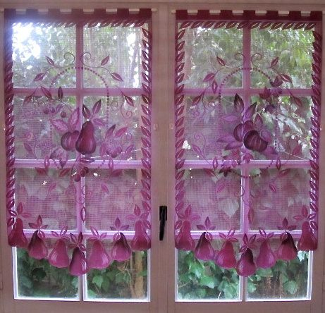 Aubergine Lace Curtains, Pair French Curtains, Purple Kitchen Curtains,  French Country Decor