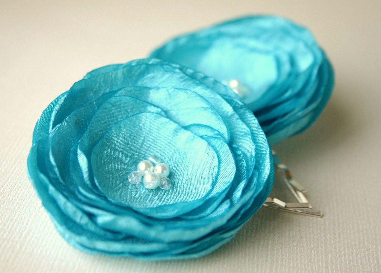 Teal bridal wedding hair accessories tiffany blue flower hair teal bridal wedding hair accessories tiffany blue flower hair clips bridesmaid flowers blue izmirmasajfo