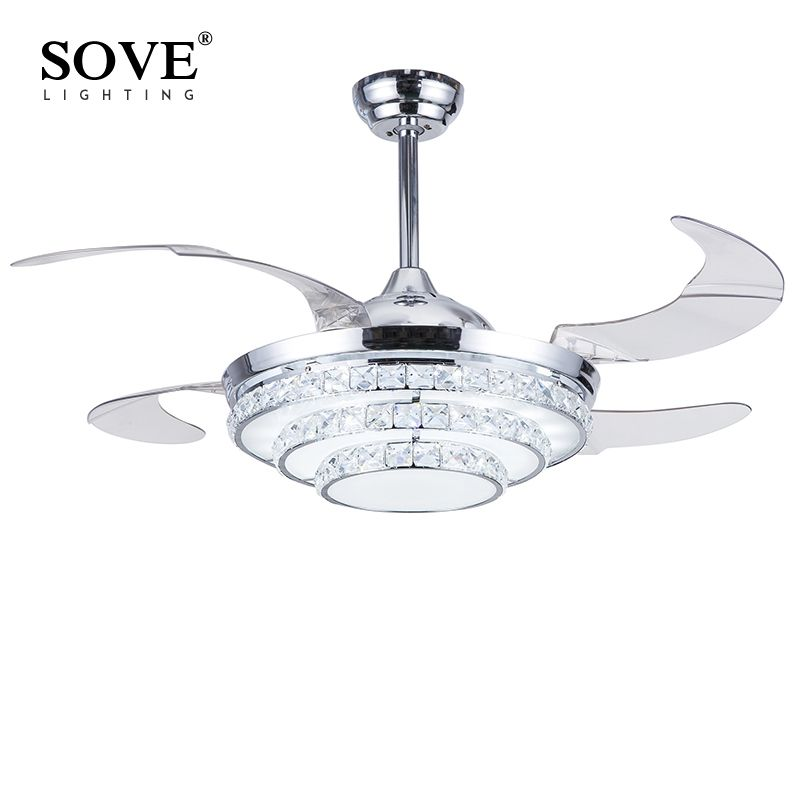 Modern Led Folding Ceiling Crystal Chandelier Fan Lights Chrome