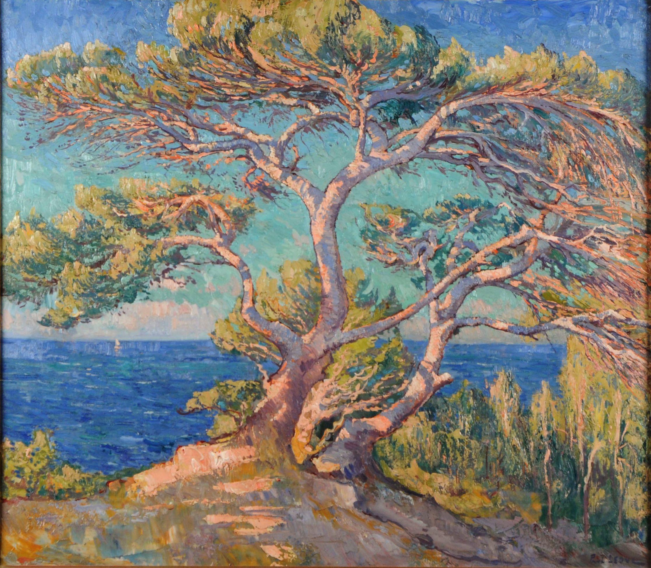 Mediterrane Gemälde paul leduc 1876 1943 le pin parasol vue de la méditerranée