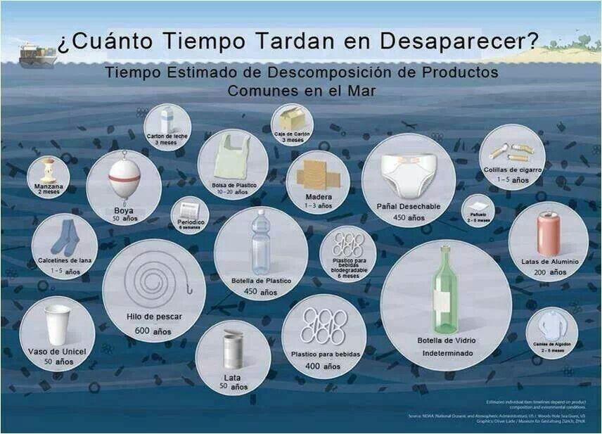 Tiempo estimado de descomposición de productos en el mar