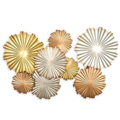 Stratton Home Decor Metallic Circles Wall Sculpture In Gold Multi is part of Cool Home Accessories Wall Art - Featuring rich shades of gold, silver, and bronze for an abstract design, the Metallic Circles Wall Sculpture from Stratton Home Decor will enhance and update any room in your home with its contemporary style  Easy to hang