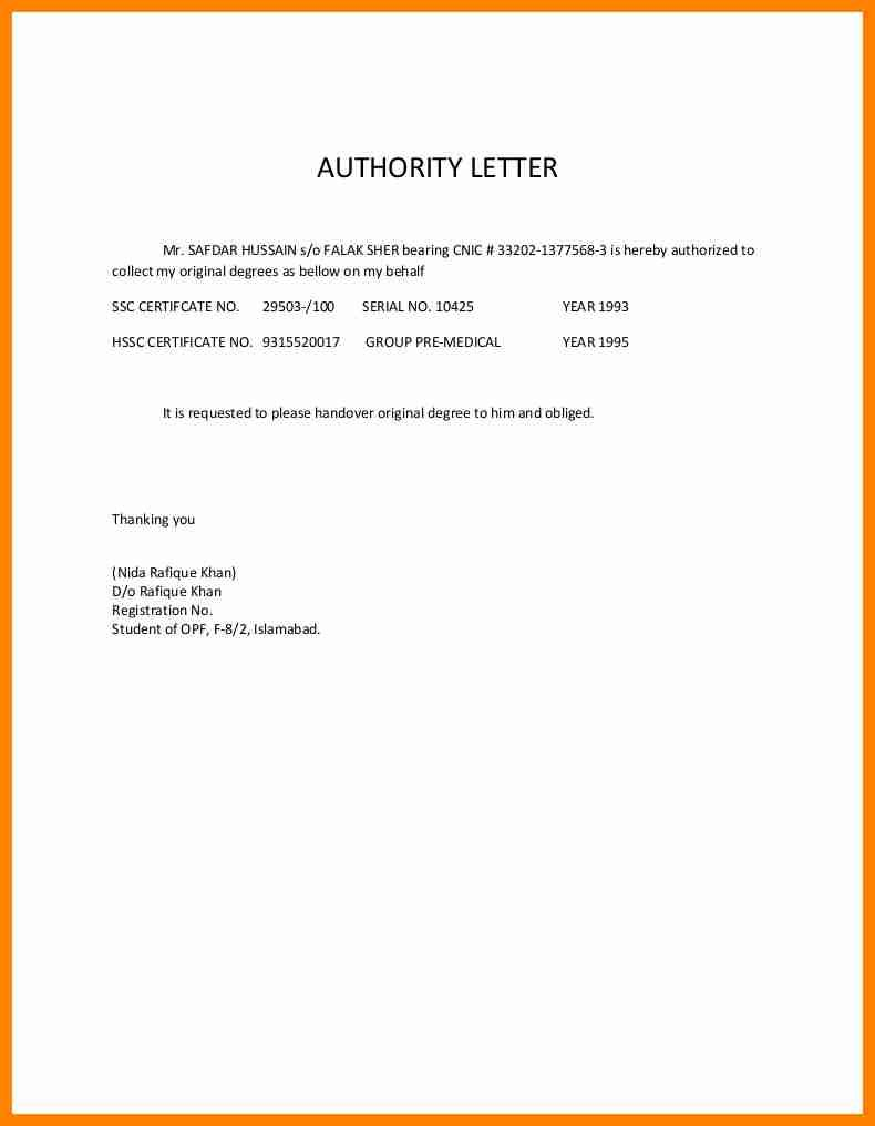 Authorization Letter For Document Collection Catering Resume