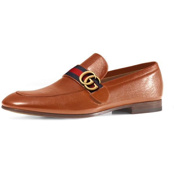 057268417 Gucci Donnie Web Leather Loafer ( 695) ❤ liked on Polyvore featuring men s…