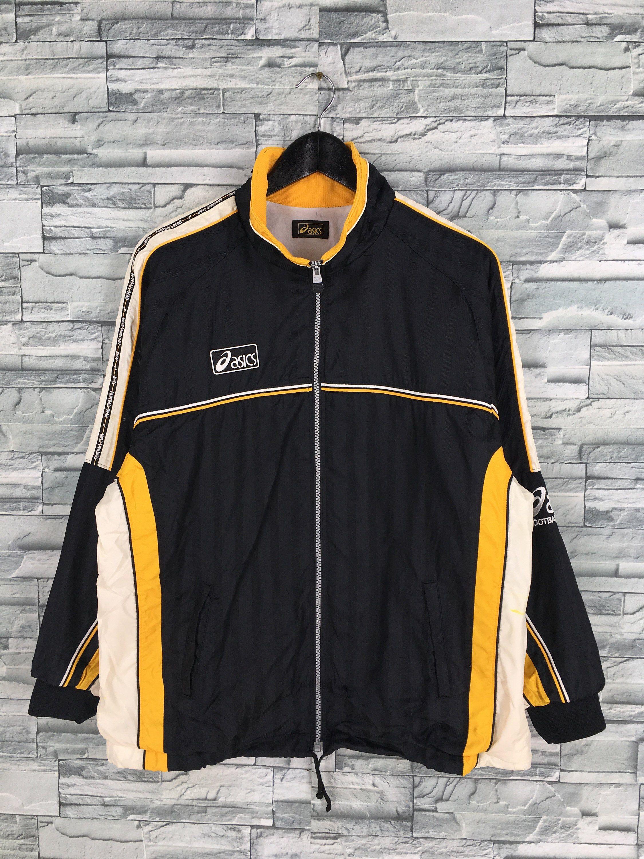 Asics Japan Track Top Jacket Large Vintage 90s Asics Running Etsy Jacket Tops Stylish Jackets Casual Stripes