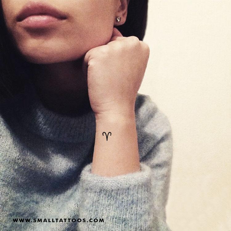 Aries Zodiac Symbol Temporary Tattoo (Set of 4)