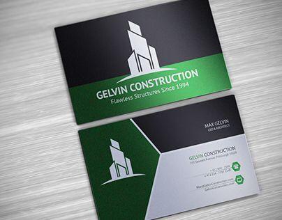 Gelvin Construction Business Card Logo Design Cards
