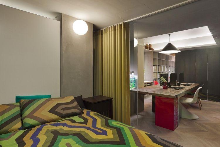 vorhang in passender f rbe als funktionalen raumteiler haus wohnen pinterest raumteiler. Black Bedroom Furniture Sets. Home Design Ideas