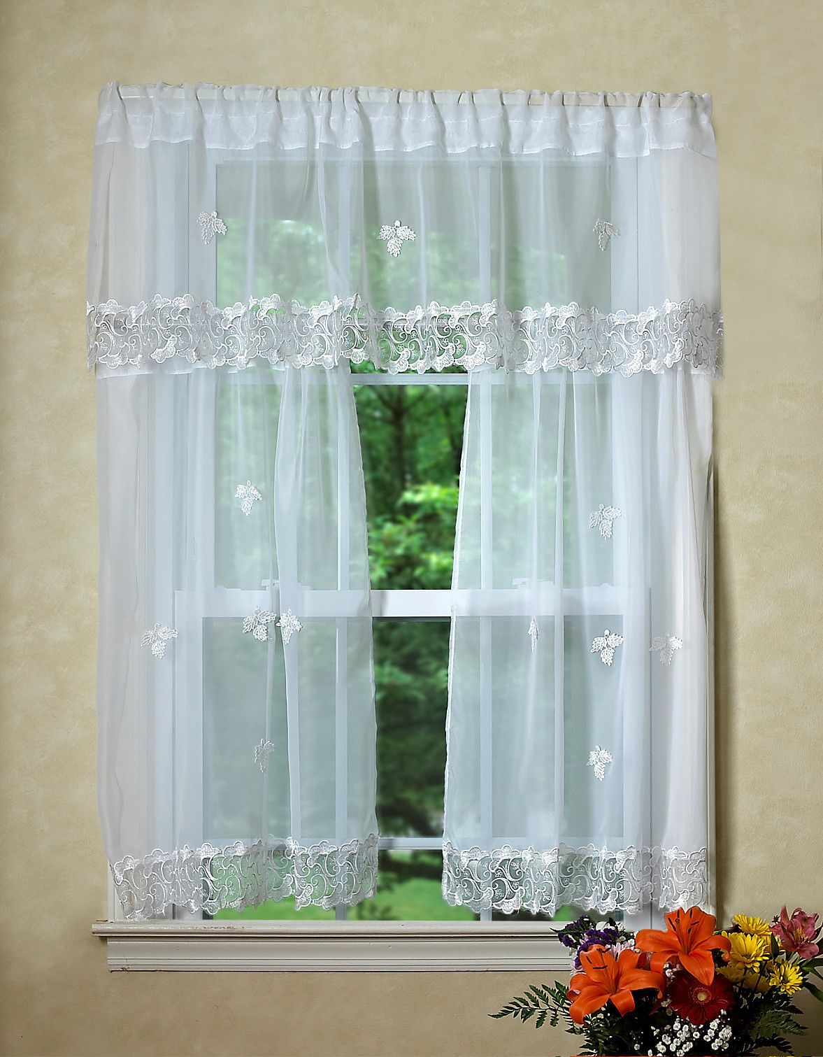 Lima sheer kitchen curtain valance and tier set products