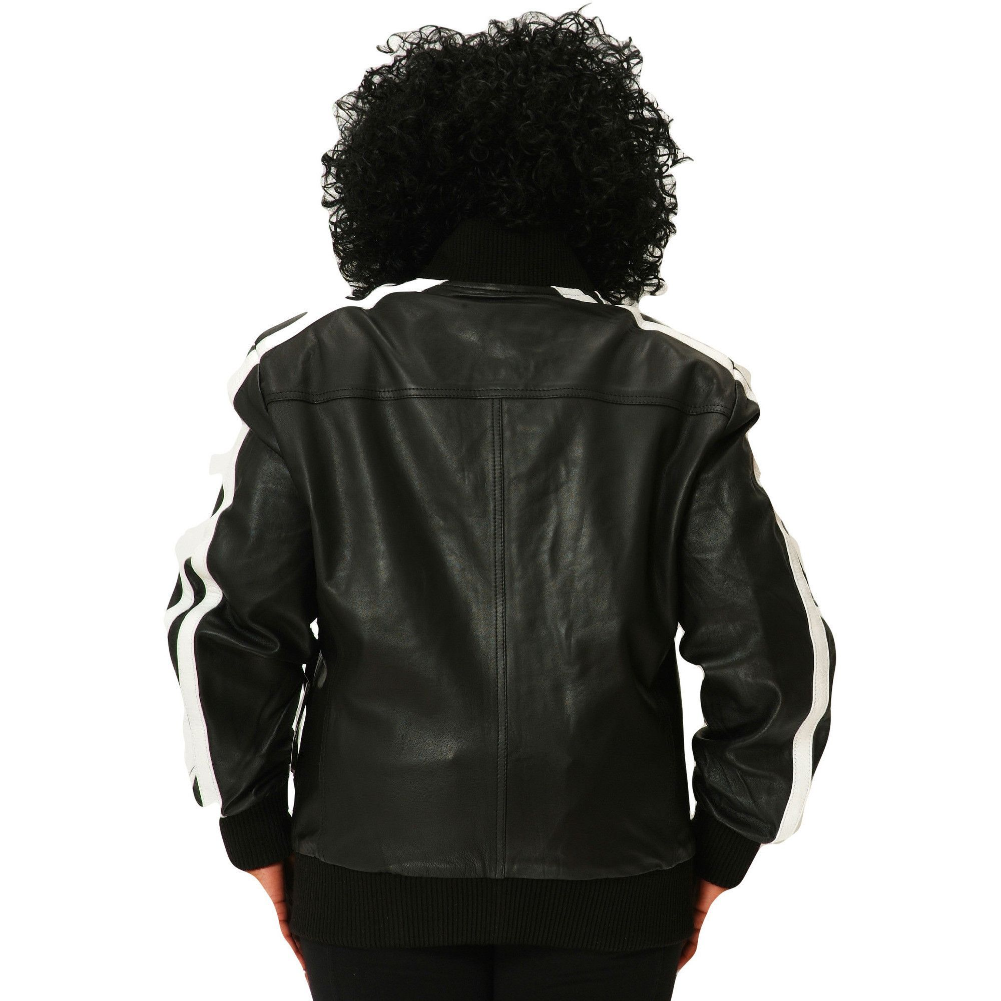 Womens Leather Jacket Black Track Celebrity Style