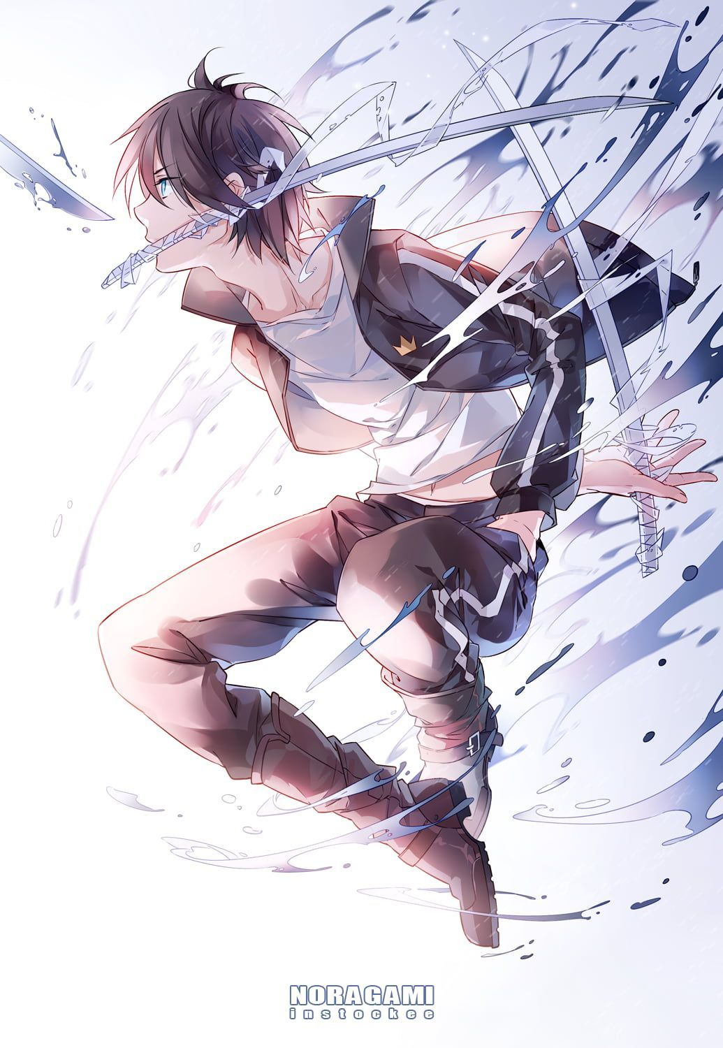 Black Haired Male Anime Character Illustration Anime Boys Noragami Black Hair Y Anime Black Boys Charact Noragami Anime Yato Noragami Noragami Wallpaper Anime boy with sword wallpaper