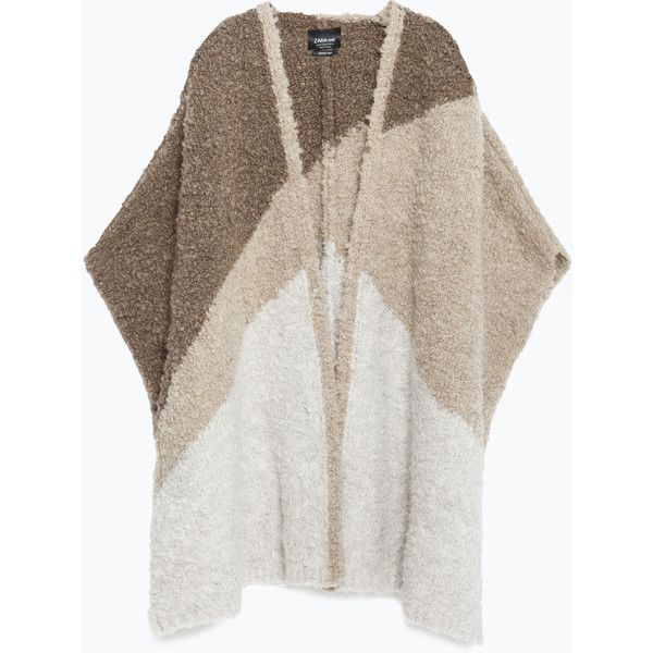 Zara Three-Tone Knit Cape (£46) ❤ liked on Polyvore featuring outerwear, mink brown, zara cape, knit cape, brown cape and cape coat