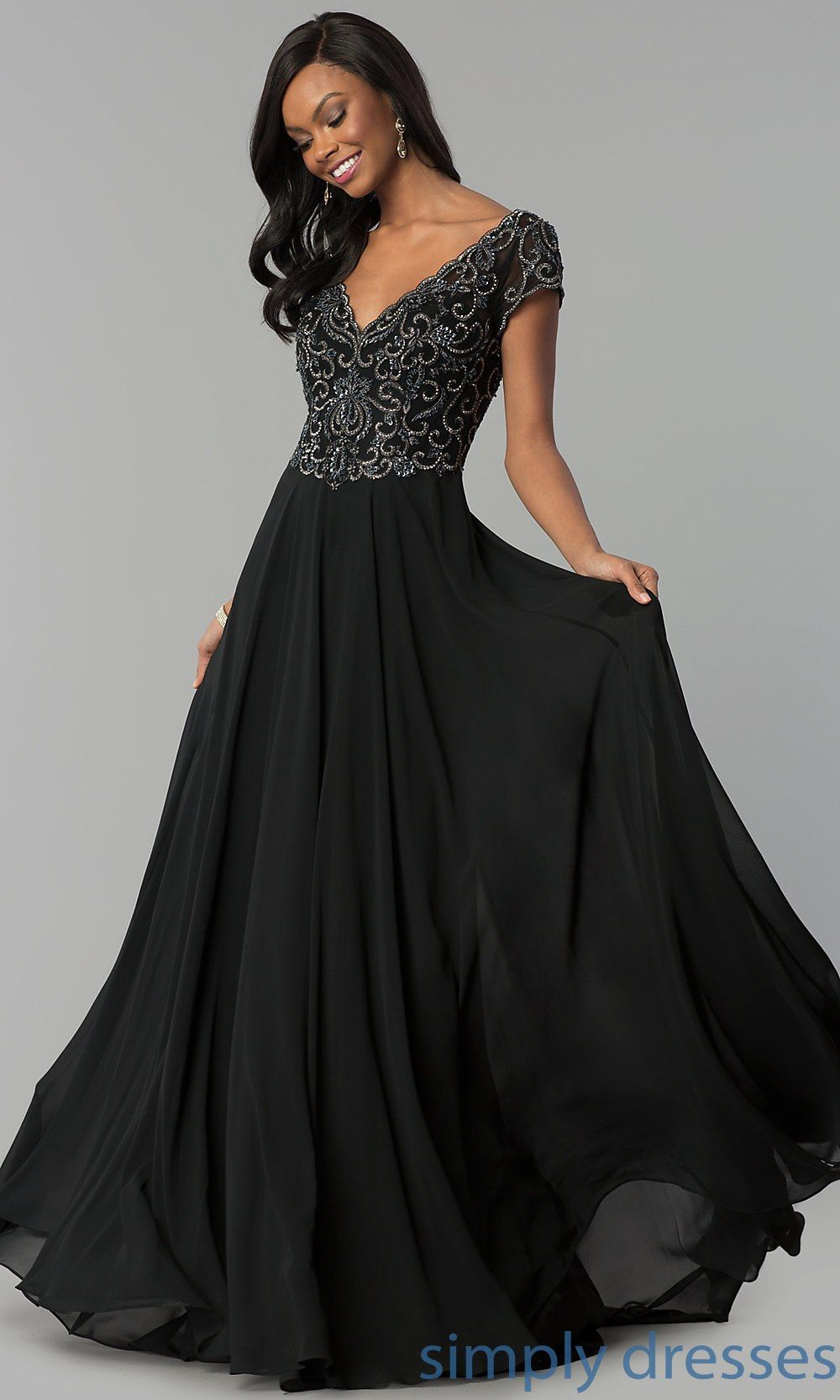 Shortsleeve long chiffon formal dress with beading in