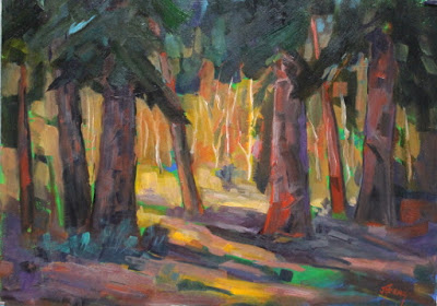 Trees Forest Contemporary Impressionist Colorado Landscape Painting Fine Art Oil Painting Ancient Giants By Colorado Contemporary Fine Artist Jod Fine Art Painting Oil Art Painting Oil Painting