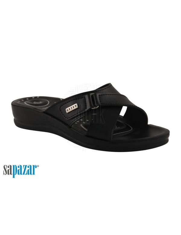 Gezer 7187 Zenne Klasik Cirtli Ortapedik Noktali Toptan Toptan Bayan Terlik Siyah Laci Bordo Sandalet Terlik Siyah