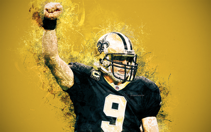 Download Wallpapers Drew Brees New Orleans Saints 4k Art Paint Creative Art American Football Player Nfl Usa Yellow Background National Football League American Football Players National Football League Nfl Football Wallpaper