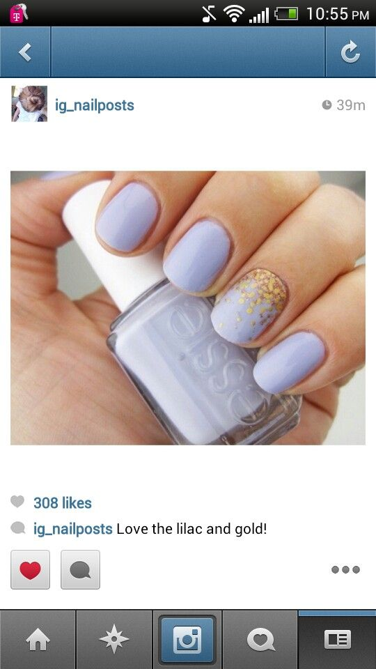 Light purple nails with a gold accent great to match prom ...