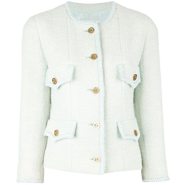 CHANEL VINTAGE boucle jacket (50,760 MXN) ❤ liked on Polyvore featuring outerwear, jackets, coats, chanel, blazers, chanel jacket, boucle jacket, white jacket and white boucle jacket
