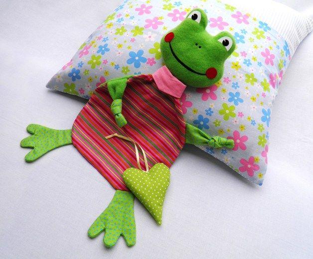 Schnuffeltuch Schmusetuch Frosch 8 mit Namen | Nähen für Kinder ...