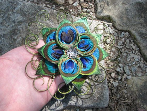 Peacock Feather Flower Hair Clip Fascinator with Split-Petals, Dark Silver Accent Piece and Rhinestone
