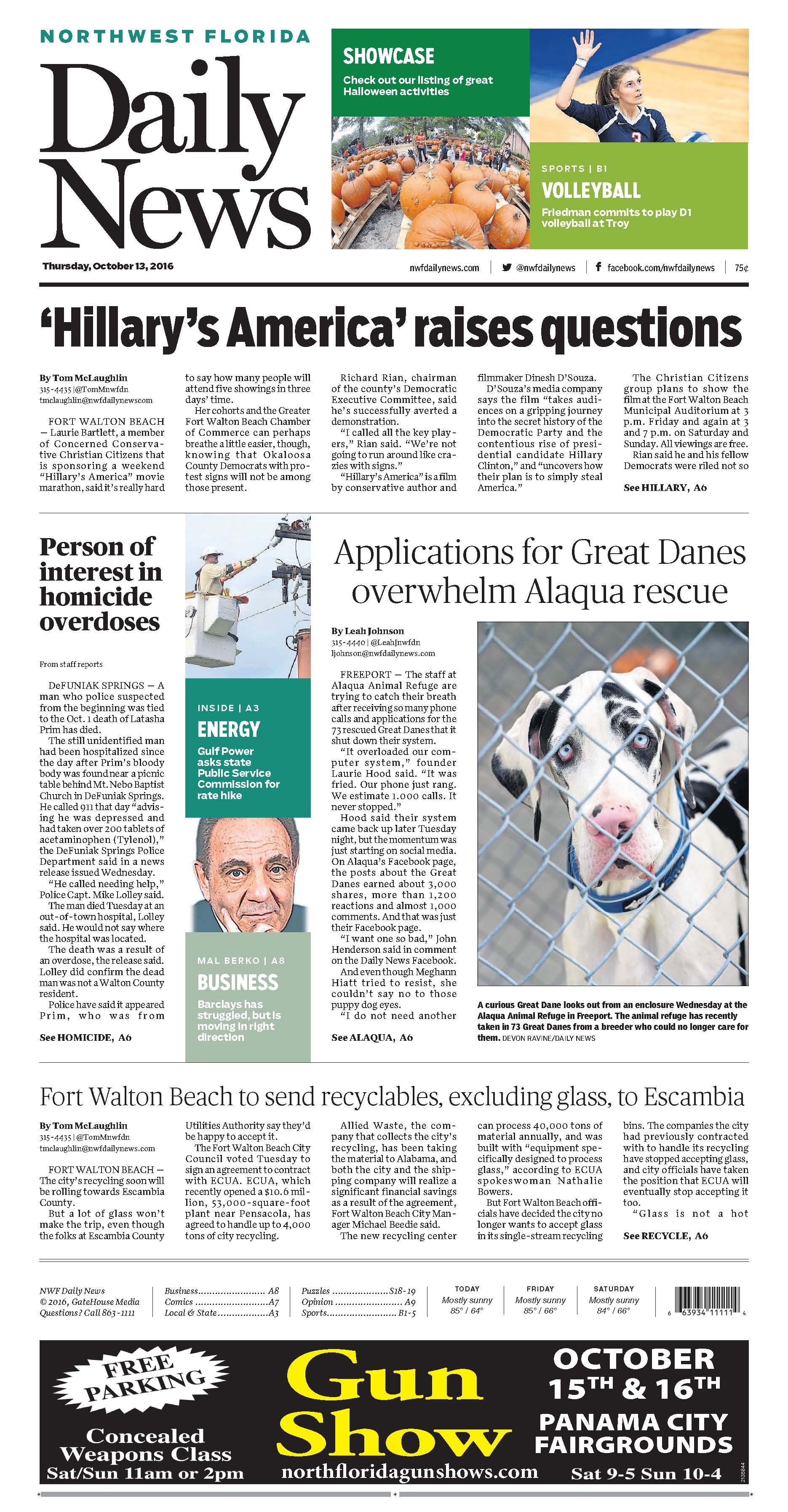The Oct 13 2016 Front Page Of The Northwest Florida Daily News