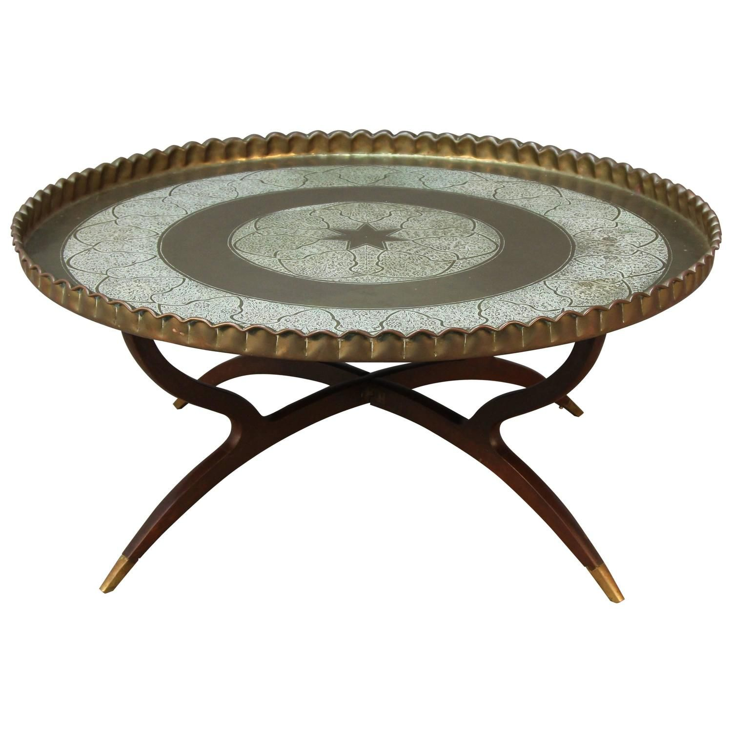 Large Round Vintage Brass Tray Coffee Table On Midcentury Folding Spider Base Coffee Table Brass Tray Table [ 1500 x 1500 Pixel ]