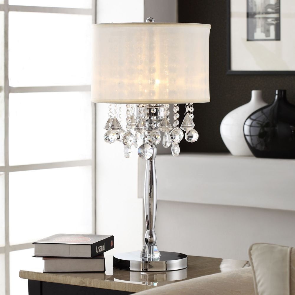 Chrome Table Lamp Shabby Chic 3 Light Crystal Finish Modern Faux Silk Shade Inspireq Contemporaryglammode Chrome Table Lamp Chandelier Table Lamp Table Lamp