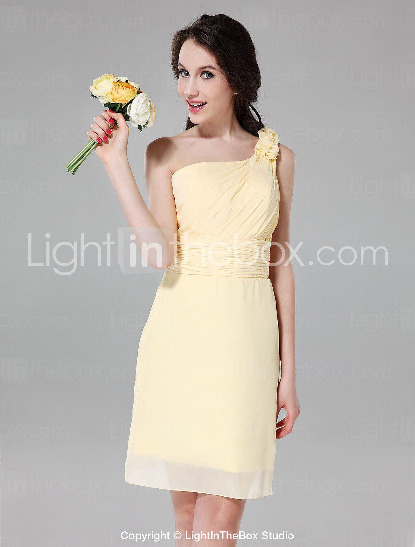 Sheath column one shoulder knee length chiffon bridesmaid dress
