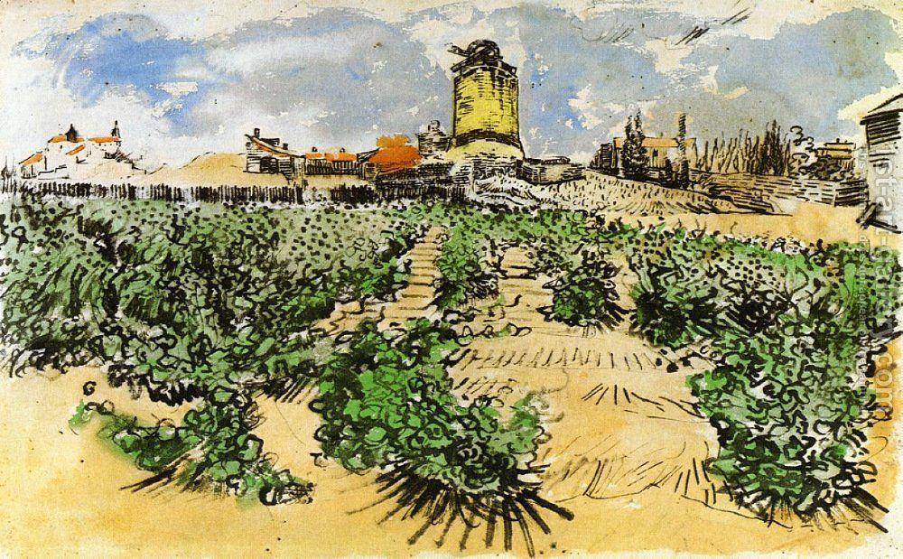 The Mill Of Alphonse Daudet At Fontevieille Aquarelle Van Gogh
