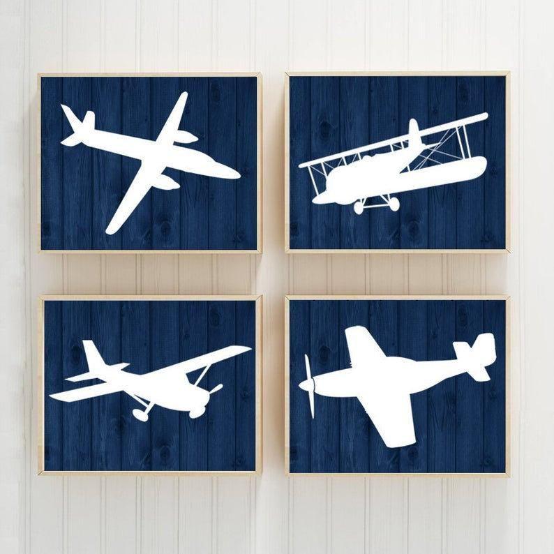 Airplanes Wall Art Prints Or Canvas Baby Boy Nursery Decor Theme Planes Aviation Decor Navy Wood Effect Set Of 4 Big Boy Bedroom In 2020 Airplane Wall Art Baby Boy Nursery