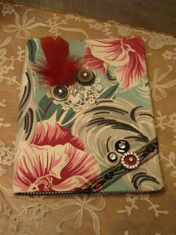 Barkcloth Fabric Journal - Vintage Rhinestones - Daily Notepad - Fabric Book Cover - Reusable Cover #howtoapplybling