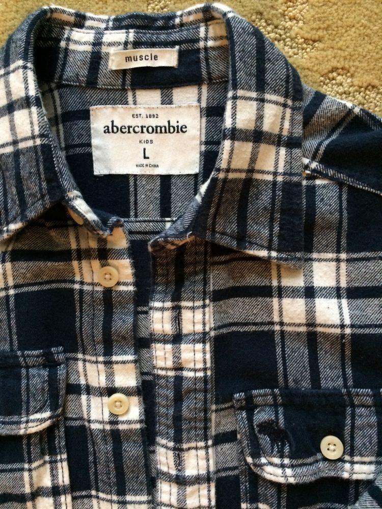 Abercrombie Boys Flannel Navy & White Plaid Check Shirt