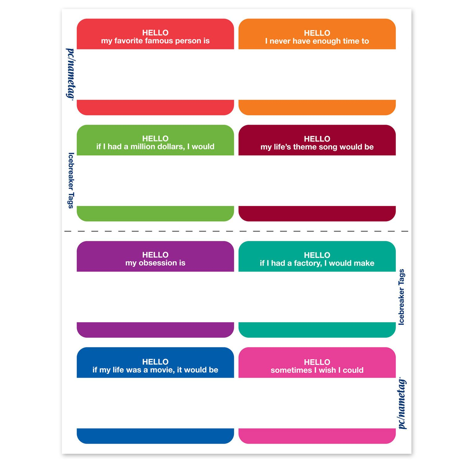 Fun icebreaker name tags. Better than just your name ...