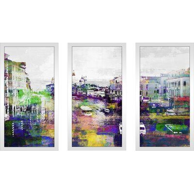 Photo of East Urban Home 'Venice, Italy III' Framed Graphic Art Print Multi-Piece Image on Glass Size: 33.5″ H x 52.5″ W