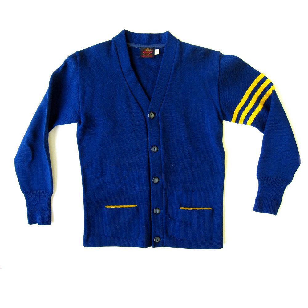 Vtg 1950's Mens Varsity Letterman Sweater Blue and Yellow Gold S M ...
