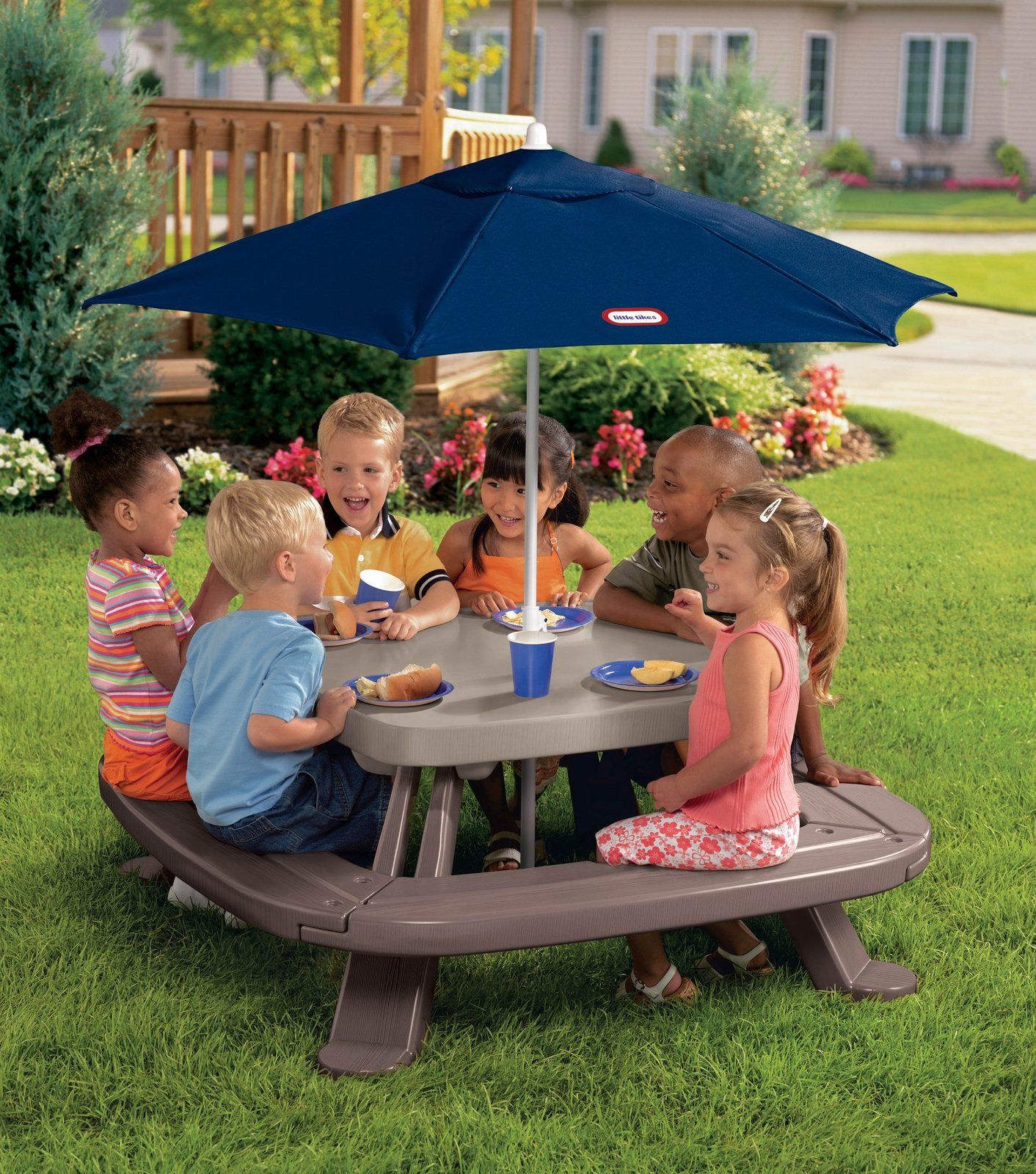 Little Tikes Fold U0027n Store Picnic Table With Market Umbrella   The Band Has  To