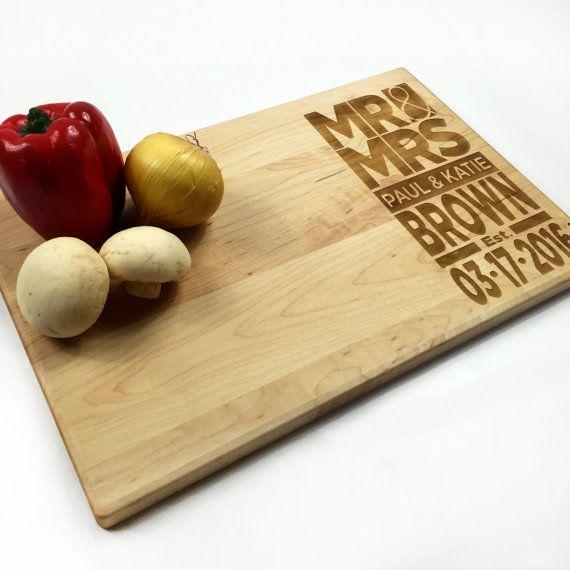 Cutting Board Personalized Wedding Gift Modern by WoodEnvyDotCom