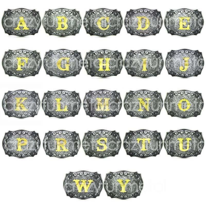 Letter Western Pattern Rodeo Initial Belt Buckle