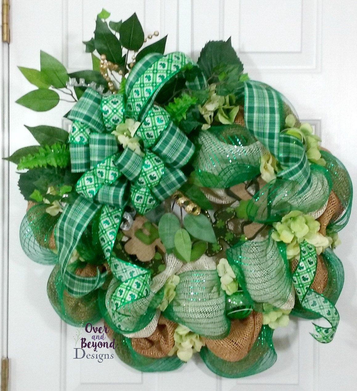 st patricks day wreath st patricks day deco mesh wreath st patricks day burlap st patrick 39 s. Black Bedroom Furniture Sets. Home Design Ideas