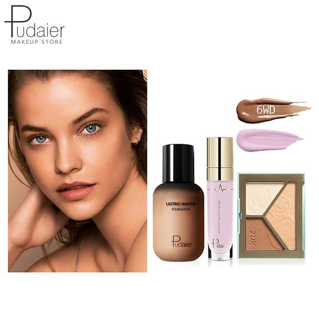 Pudaier Face Foundation Make-up Set Liquid Foundation Creme Matt Highlighter Base Gesicht ALL Concealer Cosmetic Professional Base – 6WD