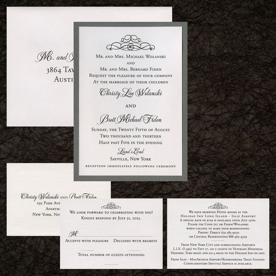 two layer wedding invitation, white metallic paper, grey metallic ...