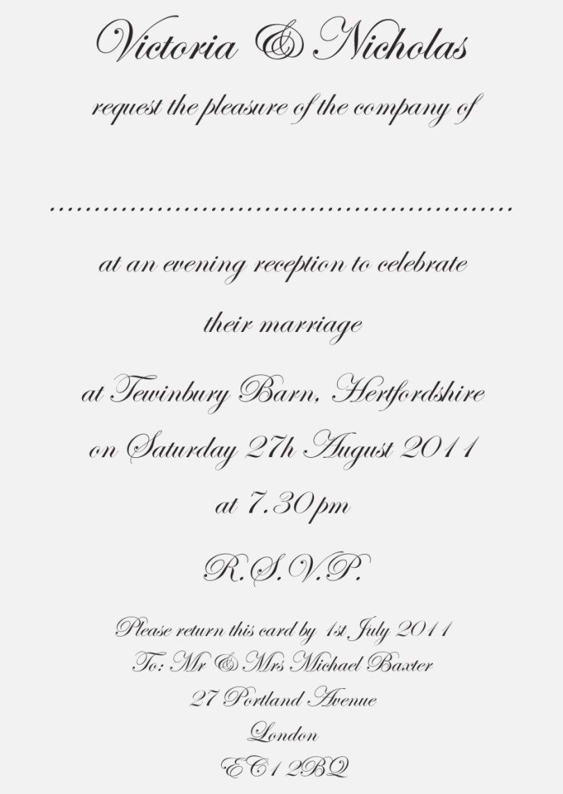 Wedding Invitation Etiquette Wedding Invitation Text Wedding Invitation Wording Formal