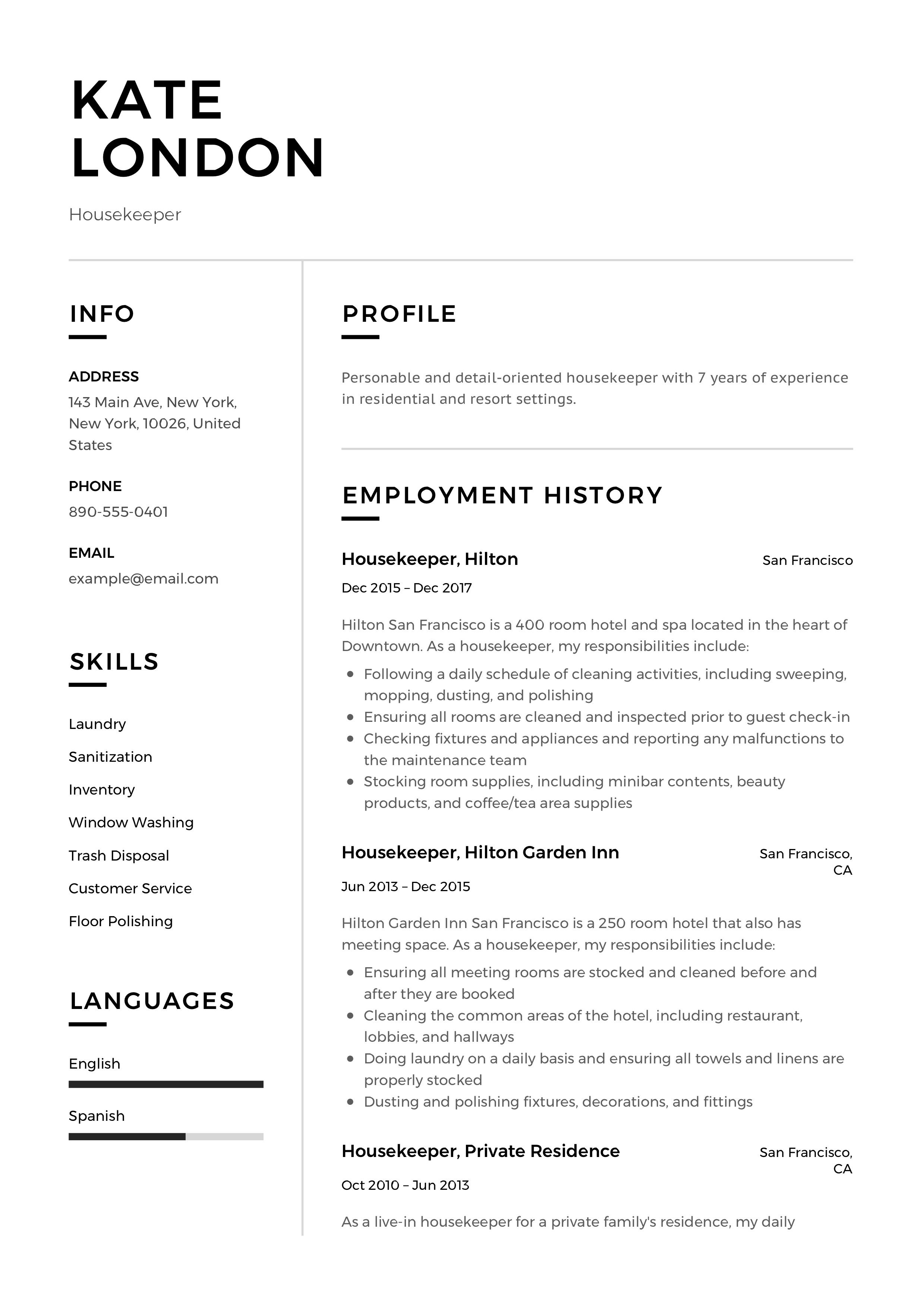 housekeeper resume, template, design, tips, examples, free sample resume for senior management position cv template professional download main skills to put on a