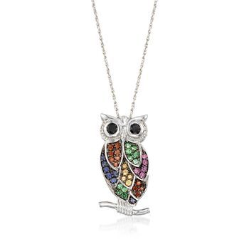 Ross-Simons Sterling Silver Owl Pendant Necklace With Black and White Diamond Accents